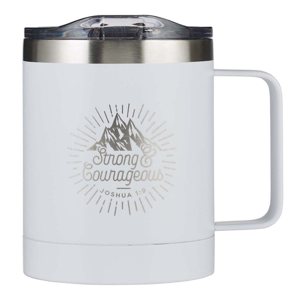 White Camp Style Stainless Steel Mug - Strong & Courageous Joshua 1:9