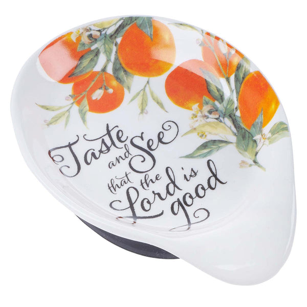 Ceramic Spoon Rest - Taste and See Psalm 34:8
