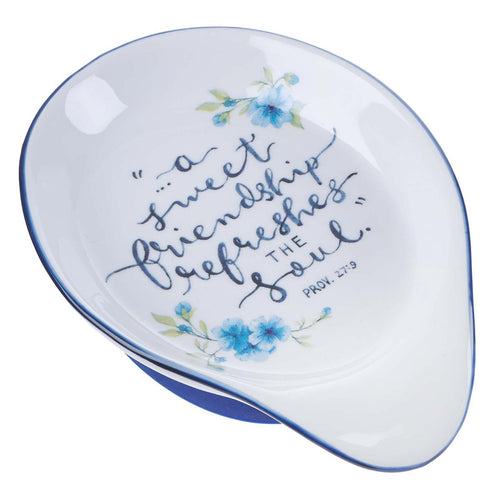 Ceramic Spoon Rest - Sweet Friendship Proverbs 27:9