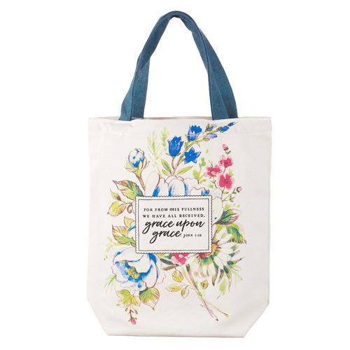 Grace Upon Grace Woven Cotton Canvas Tote Bag - John 1:16