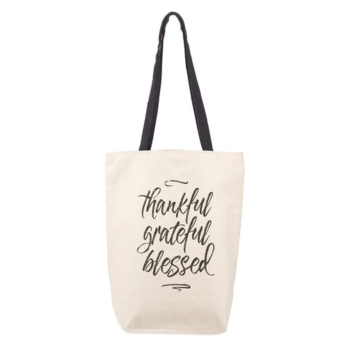 Thankful Grateful Blessed Canvas Tote Bag