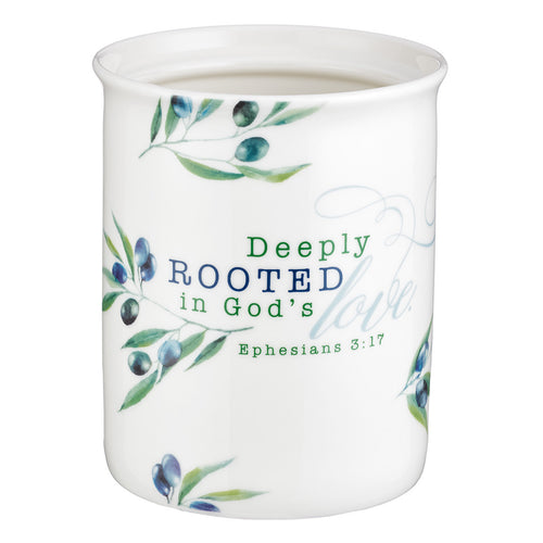 Deeply Rooted in God's Love Ceramic Kitchen Utensil Holder - Ephesians 3:17