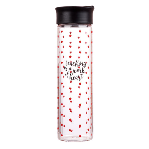 Teaching Is a Work of the Heart Glass Water bottle