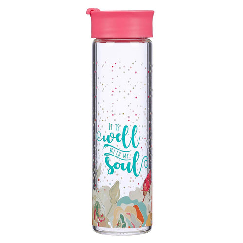 It is Well With My Soul Glass Water Bottle in Salmon Pink
