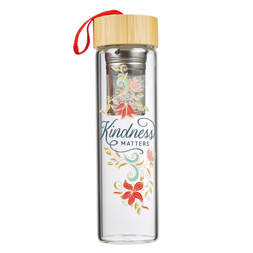 Kindness Matters Glass Infuser Water Bottle