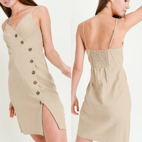 Khaki Slit Dress