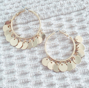 Gold Chamer Hoop Earrings