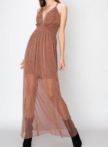 Shimmer Babe Dress in Mauve