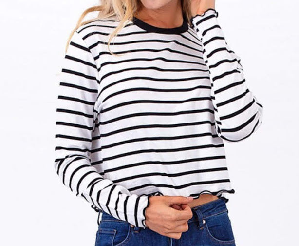 Stripe Crop Long Sleeve