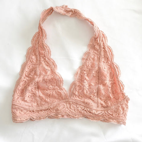 Light Pink Lace Halter Bralette