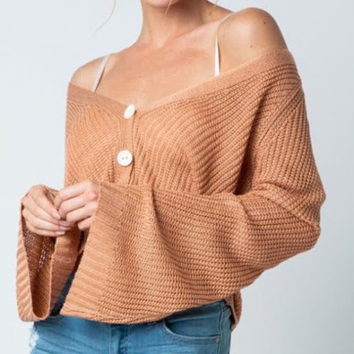 Knit Button Down Crop Cardigan