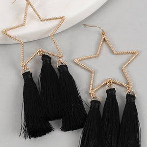 Black Star Tassel Earrings