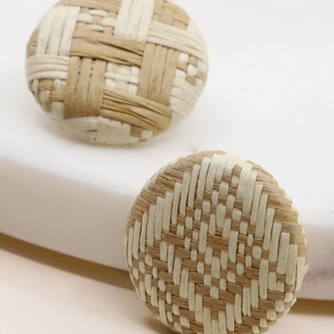 Neutral Rattan Stud Earrings