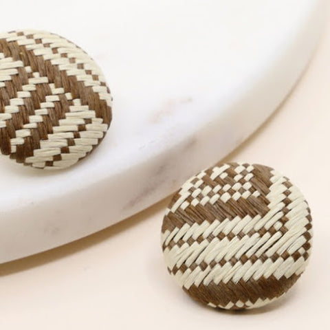 Brown Rattan Stud Earrings