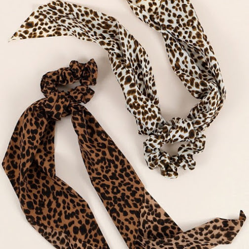 Brown Cheetah Print Hair Scrunchie/ Scarf