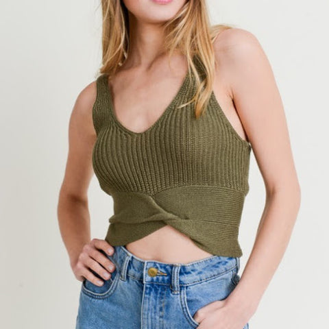 Olive Green Twisted Cami Tank
