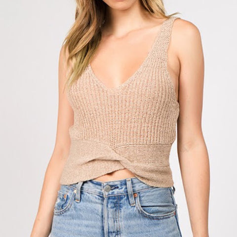 Taupe Twisted Cami Tank