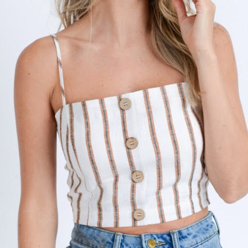 Stripe Light Brown Cami Crop Top