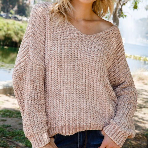 Mocha Chenille V-Neck Sweater