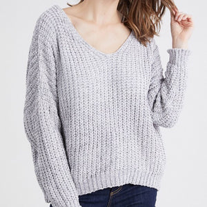 Grey Chenille V-Neck Sweater