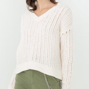 White V-neck Cozy Sweater