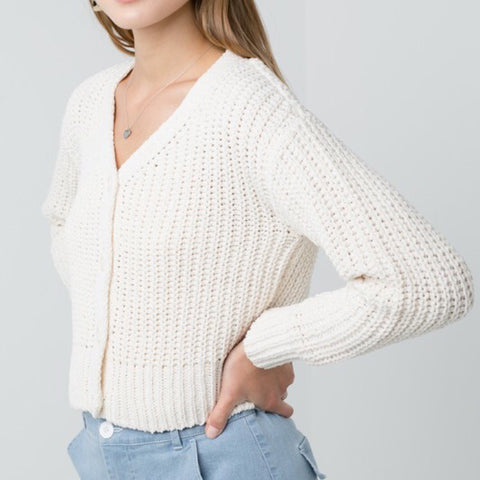 White Chenille Crop Cardigan