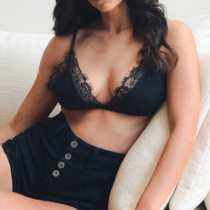 Black Lace Trim Bralette