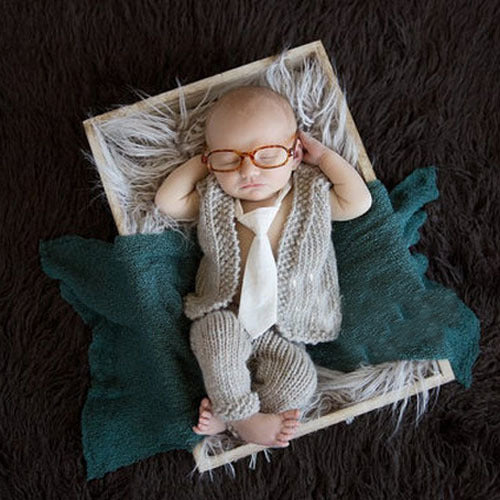 Newborn photography props knitted vest with pants tie and glasses 4 pieces set