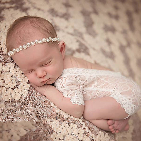 Soft newborn photography props fashion lace baby girls romper black and white colors