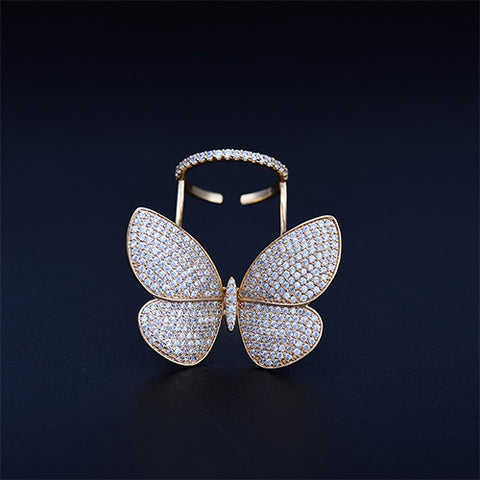 LUOTEEMI High Quality Fashionable Unique Adjustable Ring Micro Paved Shining CZ Movable Butterfly Shape Jewelry for Party Gift