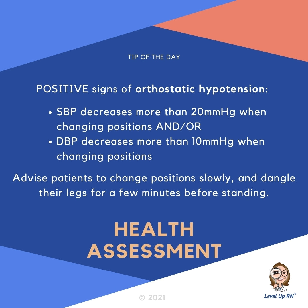 A patient is POSITIVE for orthostatic hypotension if: The SBP decreases more than 20mmHg when changing position AND/OR the DBP decreases more than 10mmHg