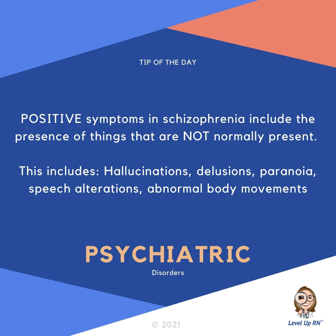 POSITIVE symptoms in schizophrenia include the presence of things that are NOT normally present. This includes:  Hallucinations, delusions, paranoia, speech alterations, abnormal body movements