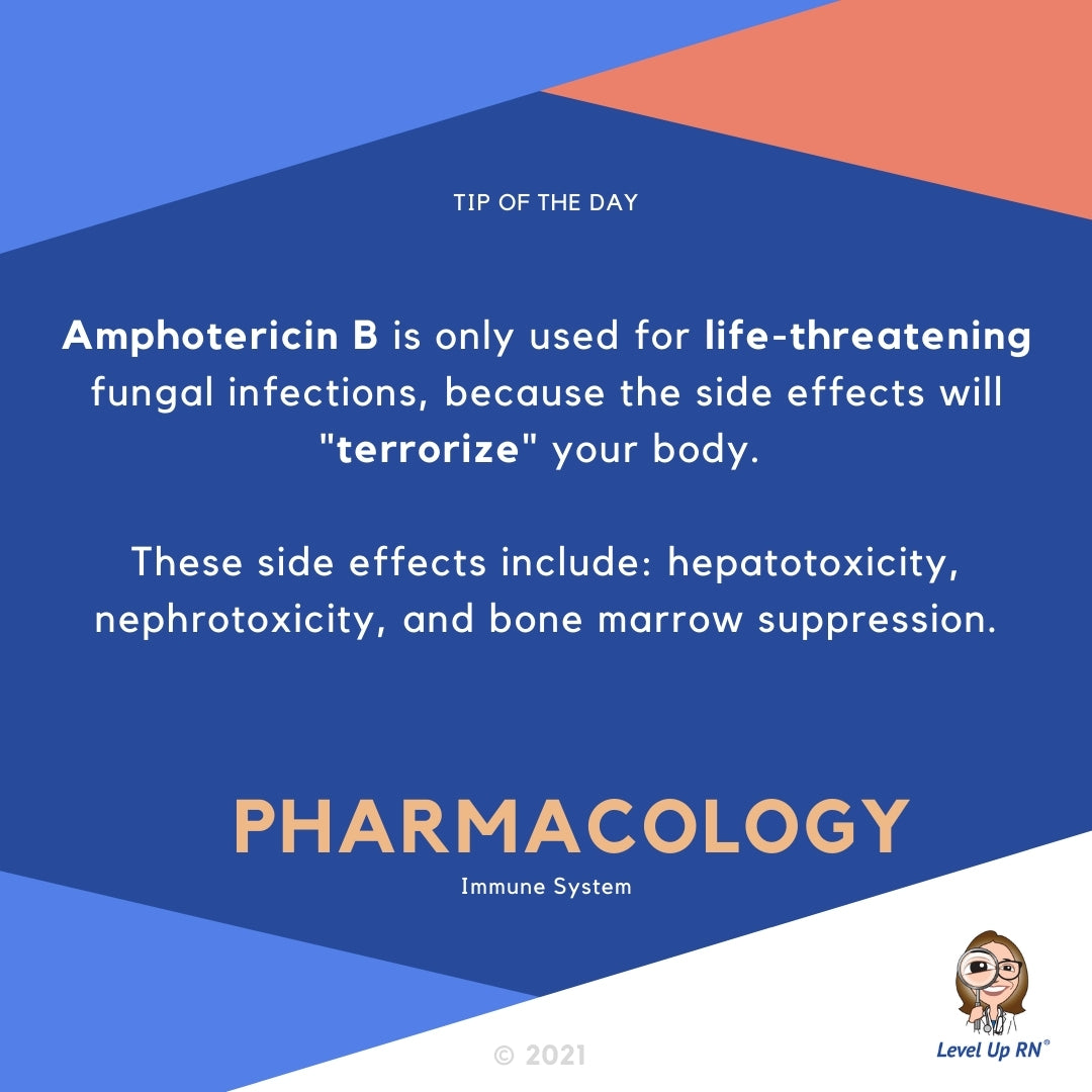 "Amphotericin B is only used for life-threatening fungal infections, because the side effects will ""terrorize"" your body. These side effects include: hepatotoxicity, nephrotoxicity, and bone marrow suppression."