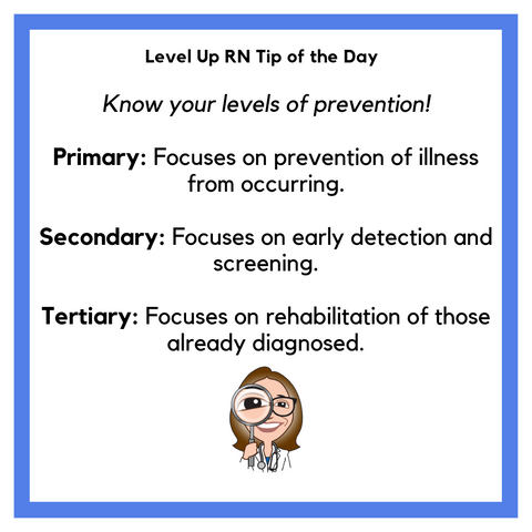 LevelUpRN Prevention Levels Tip of the Day