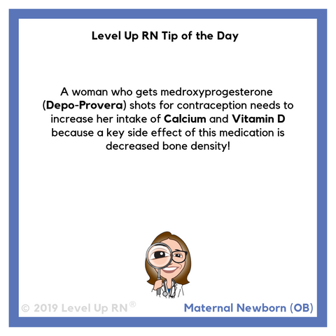 LevelUpRN Depo-Provera Side Effect Tip of the Day