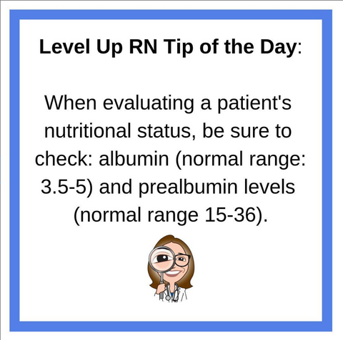 LevelUpRN Albumin and Prealbumin Tip of the Day