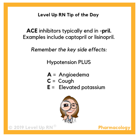 LevelUpRN Ace Inhibitors Tip of the Day