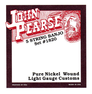 John Pearse 1820L Light Customs Extra Long 5 String Banjo Strings
