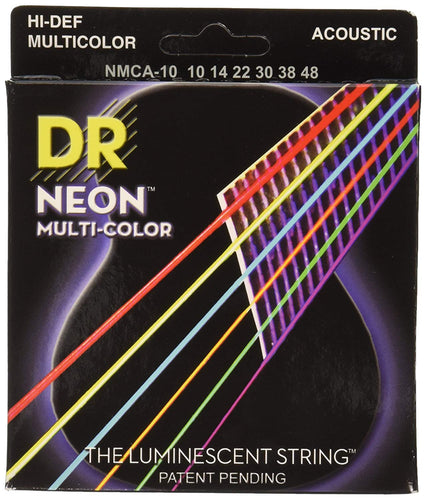 DR NMCA-10 Extra Light 10-48 Neon Multi-Color Acoustic Guitar Strings