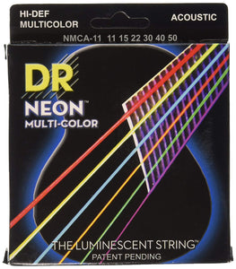 DR NMCA-11 Custom Light 11-50 Neon Multi-Color Acoustic Guitar Strings