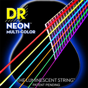 DR NMCA-12 Light 12-54 Neon Multi-Color Acoustic Guitar Strings