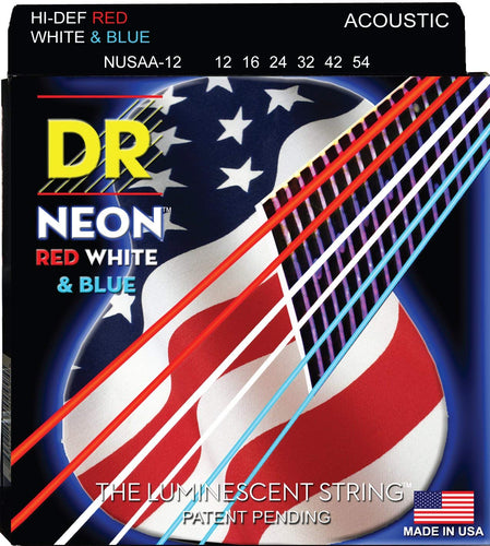 DR NUSAA-12 Light 12-54 Neon Red White and Blue Acoustic Guitar Strings