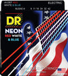 DR NUSAE9 Light 9/42 Neon Red White and Blue Electric Guitar Strings