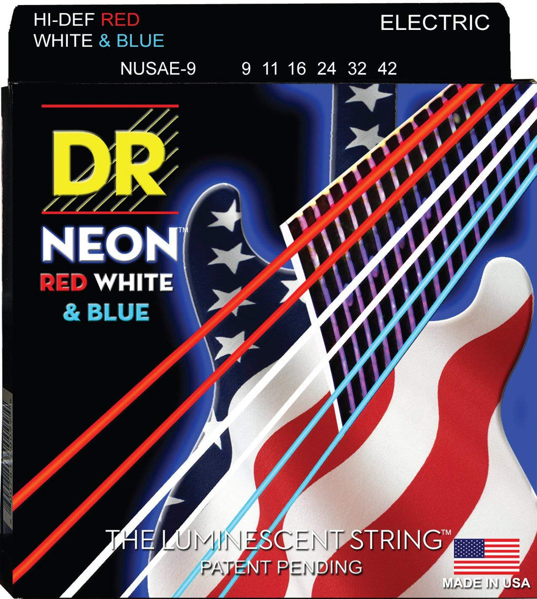 DR NUSAE-9 Light 9-42 Neon Red White and Blue Electric Guitar Strings