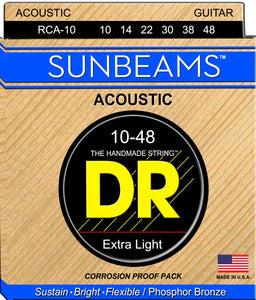 DR RCA-10 Extra Light Sunbeams Phosphor Bronze Acoustic Guitar Strings