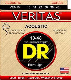 DR VTA10 Extra Light Veritas Phosphor Bronze Acoustic Guitar Strings
