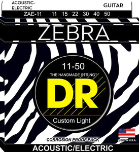 DR ZAE-11 Custom Light Zebra 11-50 Acoustic/Electric Guitar Strings