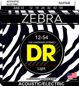 DR ZAE-12 Light Zebra 12-54 Acoustic/Electric Guitar Strings