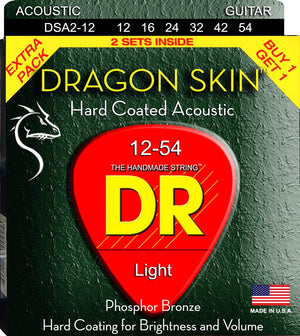 DR DSA-2/12 2 Pack Light Dragon Skin Acoustic Guitar Strings