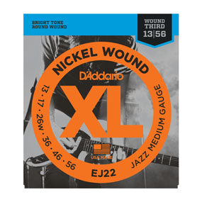 D'Addario EJ22 Nickel Wound, Jazz Medium, 13-56 Electric Guitar Strings